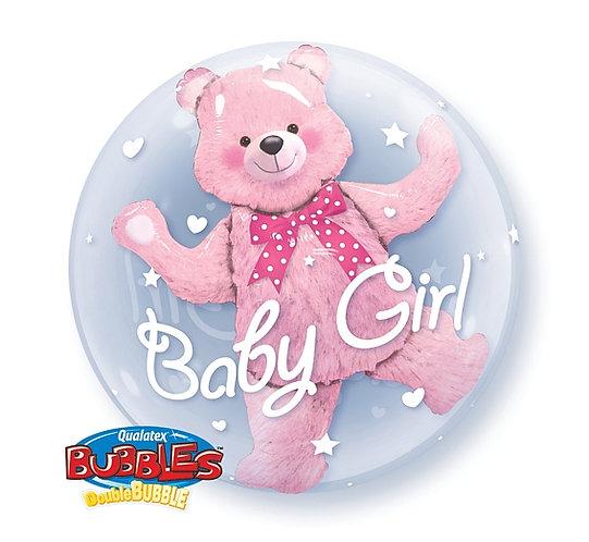 """Balon foliowy 24"""" QL Bubble Pod. """"Miś w balonie Baby Girl"""""""
