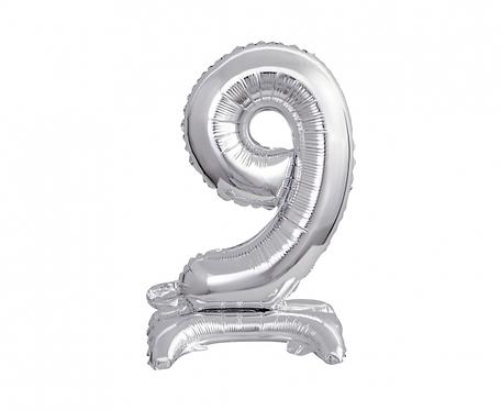 Balon foliowy B&C Cyfra stojąca 9, srebrna, 38 cm