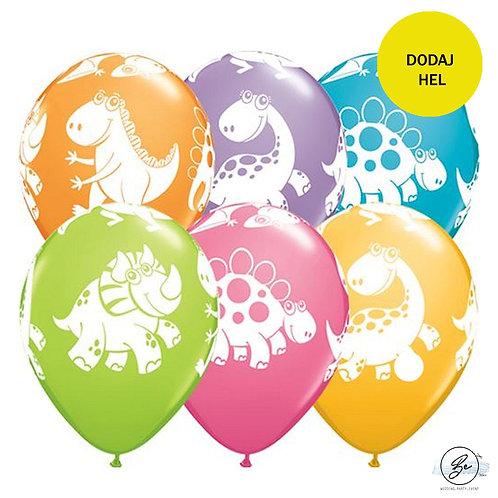 "Balon QL 11"" z nadr. ""Dinozaury"", pastel mix"