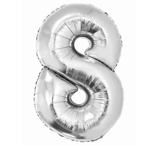"""Balon foliowy """"Cyfra 8"""", srebrna, 92 cm"""