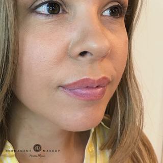Healed result after PMU of lips