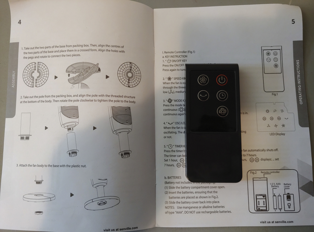 Senville Oscillating Tower Fan instruction manual assembly and remote