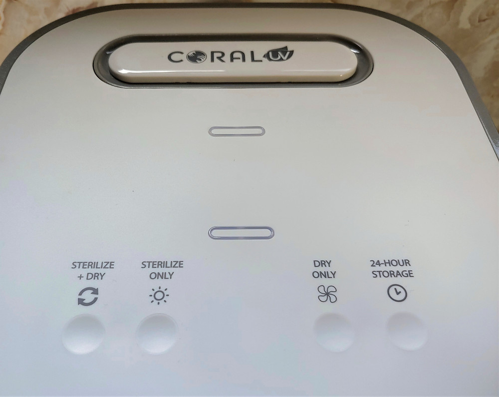 Coral UV 3-in-1 Ultraviolet Sterilizer and Dryer buttons are shown alongside the settings