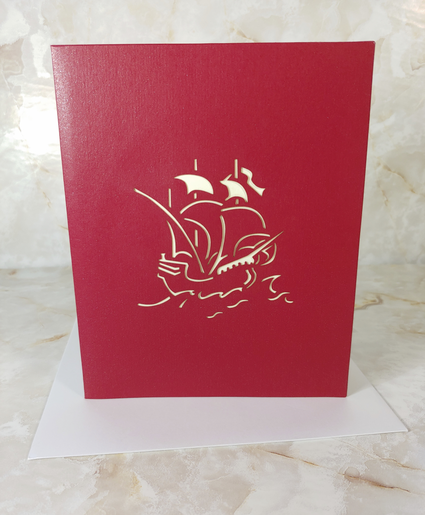 Meihejia 3D Pop up Greeting Card has a pirate design cut out on front