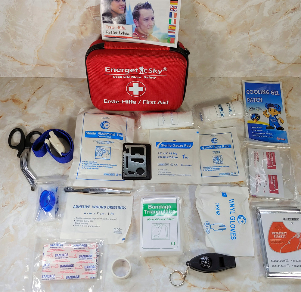 EnergeticSky First Aid Kit laid out with all its contents
