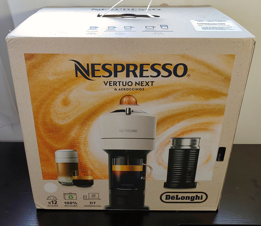 Nespresso Vertuo Next Espresso Machine  in 100% recyclable box