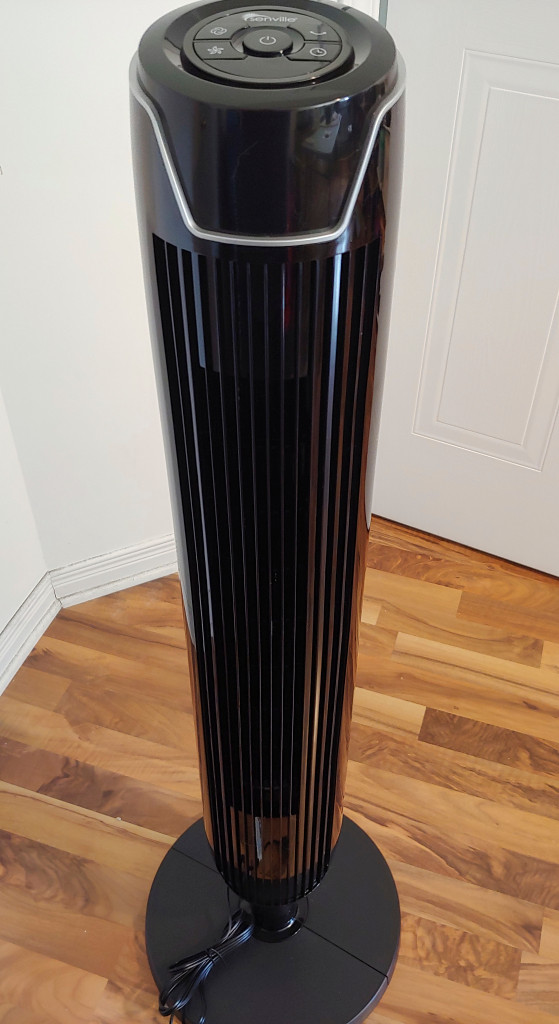 Senville Oscillating Tower Fan is a tall black fan with oscillation and speed settings