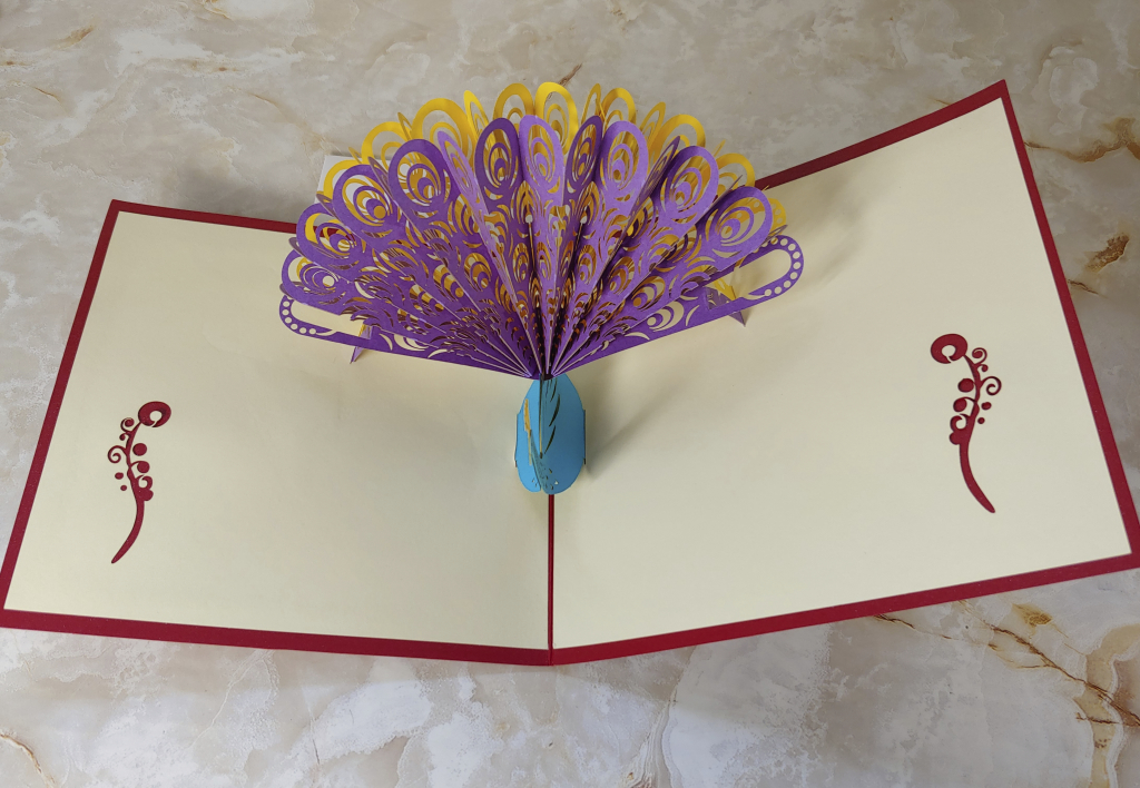 Meihejia 3D Pop up Greeting Card peacock