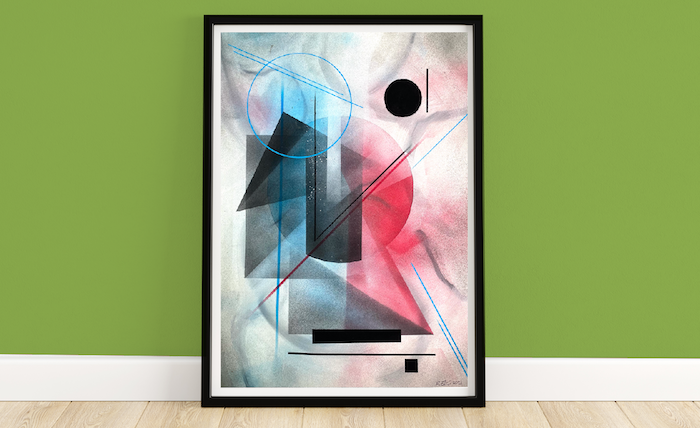 Fragments 002 | Framed Abstract Painting on 300gsm Textured Paper