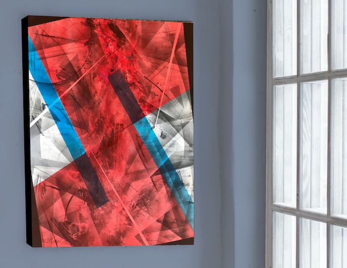 Red & Blue No1 | Original Painting on Deepedge Plywood Panel