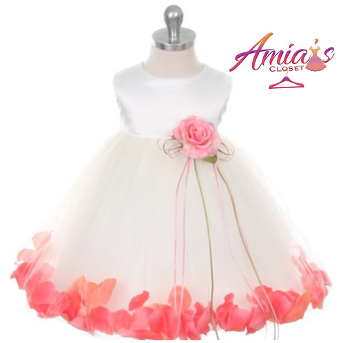 Girl's satin and chiffon dress/pink rose at waist and red rose pedals at hem