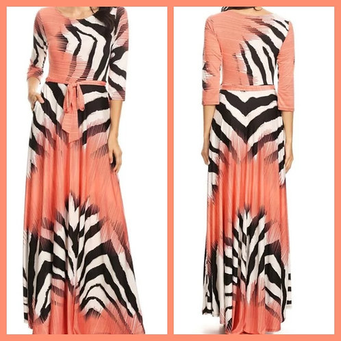 """""""The Peaches"""" Maxi Dress with Pockets and Waist Tie"""