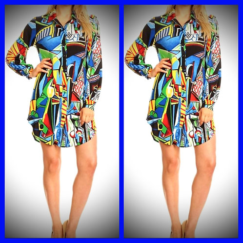 """Pretty Pieces"" Abstract colorful shirt dress"