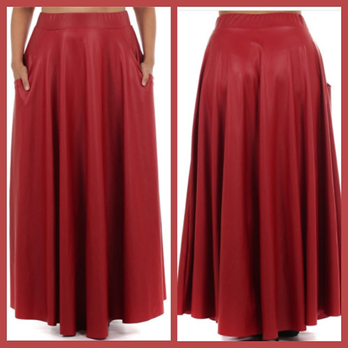 Red Faux Leather Skirt with Pockets