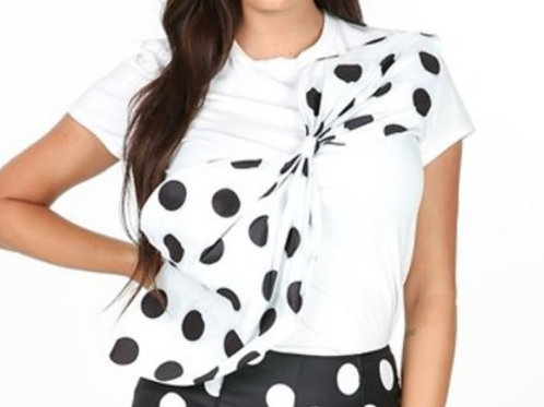 """Dotted"" Top-White"