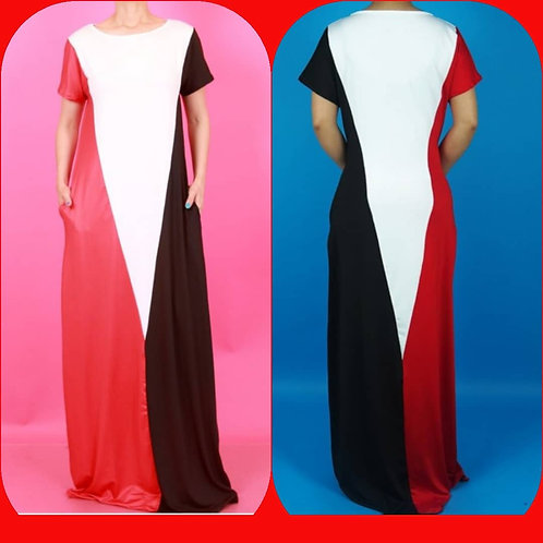 Black, Red, and White Color Block Dress
