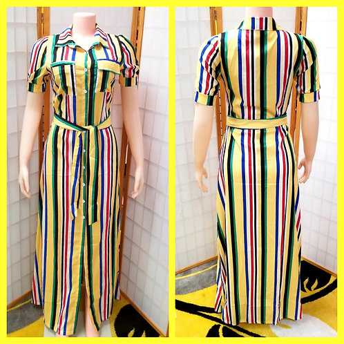 Yellow Stripe Button-Up Maxi Dress