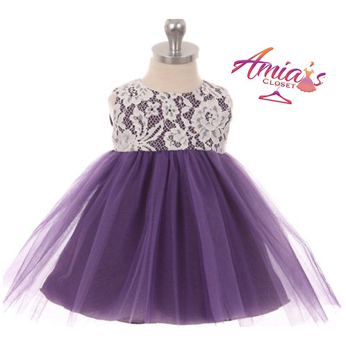 Purple and lace tulle dress