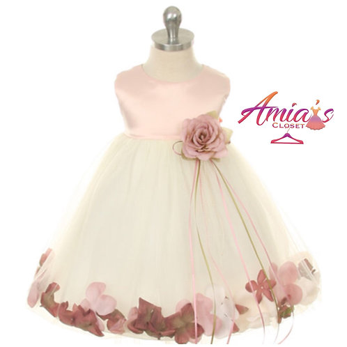 Pink and White tulle dress with rose pedal hem