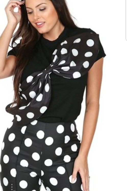 """Dotted"" Top-Black"