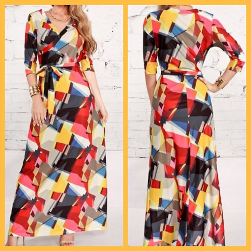 """""""Patched"""" Wrap Dress"""