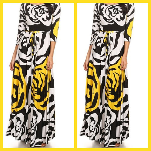 Blossoming Yellow Maxi Dress with pockets and waist tie