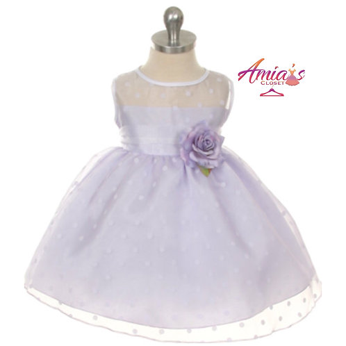 Polka dot lilac and white dress with lilac rose