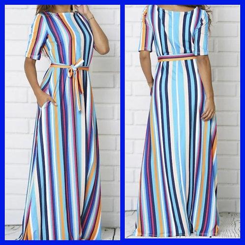 Striped Maxi Dress with Waist Tie