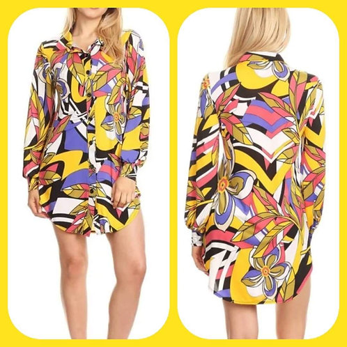 Abstract Shirt Dress-Yellow
