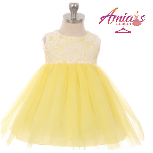 Yellow and white lace tulle dress