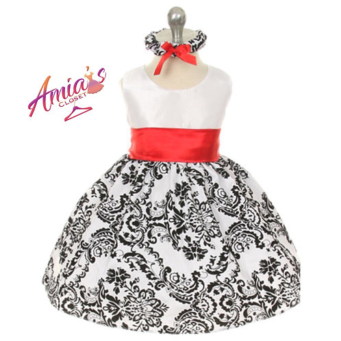 Black and white dress with red waistband