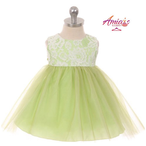 Lime green lace tulle dress