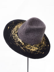 Fedora Gold, A/W Tenera Collection 19, Handcrafted by Elena Shvab Millinery