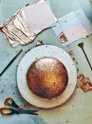Metallic Foil in Millinery, creating cooper foil crown