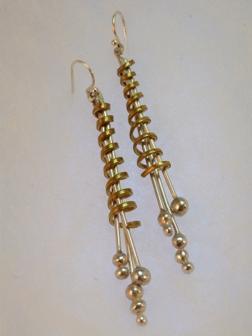 fj brass silver twist earrings