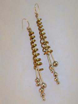 fj brass silver twist earrings