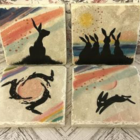 Hare coasters £6 each or 4 for £20.00