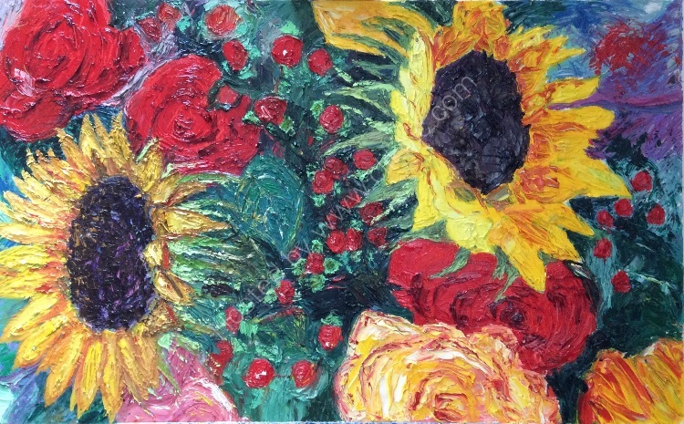 Sunflowers and Roses