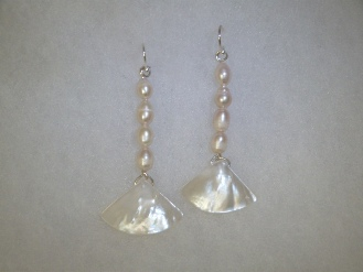 fj mother pearl fan earrings