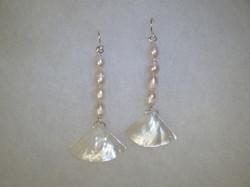 fj mother pearl fan earrings