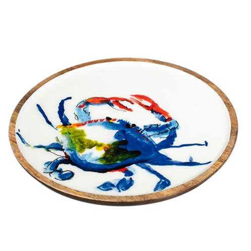 Mango wood crab tray (blue crab)
