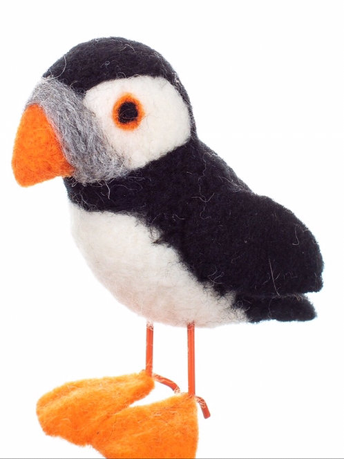 Felted pure wool puffin