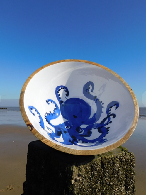 30cm mango wood octopus bowl