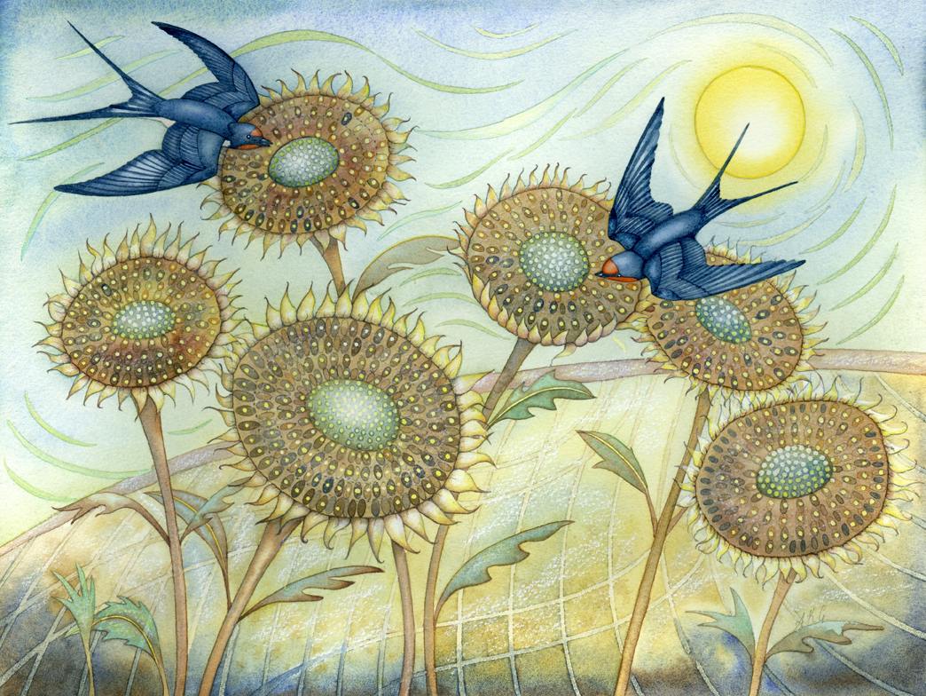 Swallows and Sunflowers