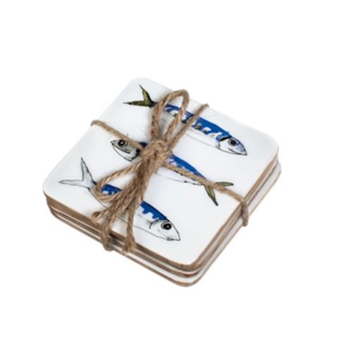 Set of four coasters with mackerel design