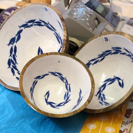 mango wood fish swirl bowls from £10 - £