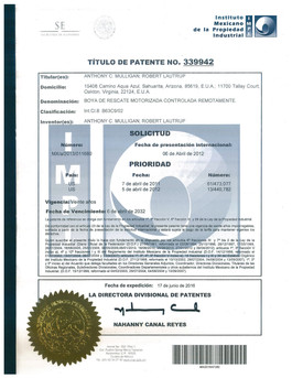 Mexican Patent Certificiate No 339942 (C