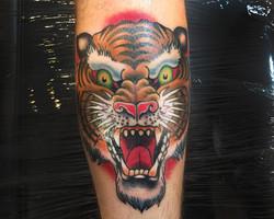 Tiger head tattoo, Somerset