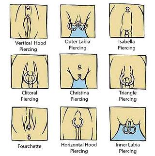 Female genital piercings, hood piercing, diana piercing, Wells, Somerset