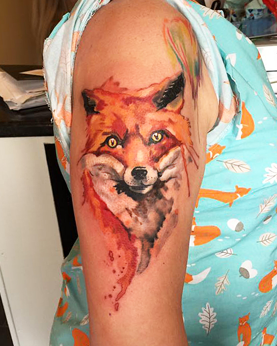 Fox tattoo.Tattooist in Somerset
